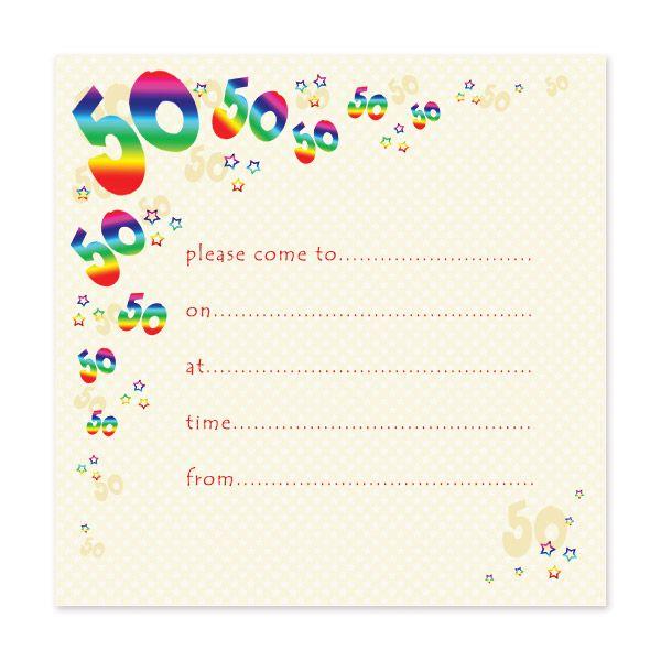 blank 50th birthday party invitations