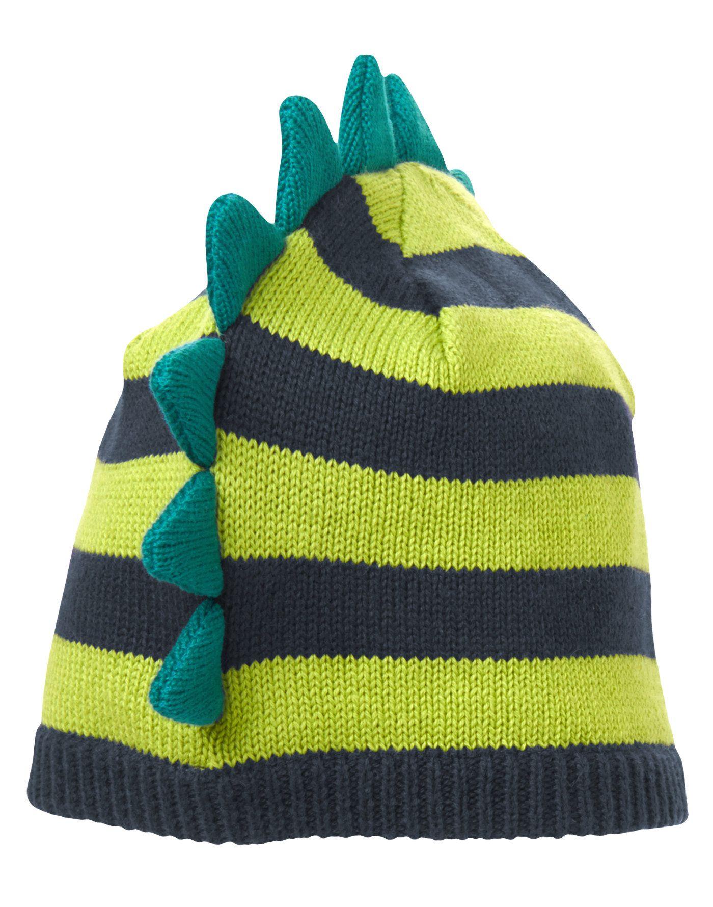 bc61d11da81 Dino cool! Soft stripe sweater beanie has fun 3-D spines.