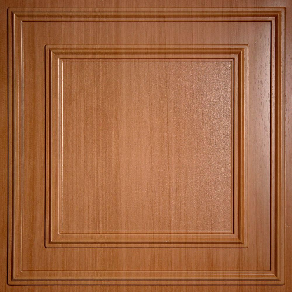 Ceilume Cambridge Faux Wood Caramel 2 Ft X 2 Ft Lay In Or Glue Up Ceiling Panel Case Of 6 Tin Ceiling Tiles Ceiling Panels Ceiling Tiles