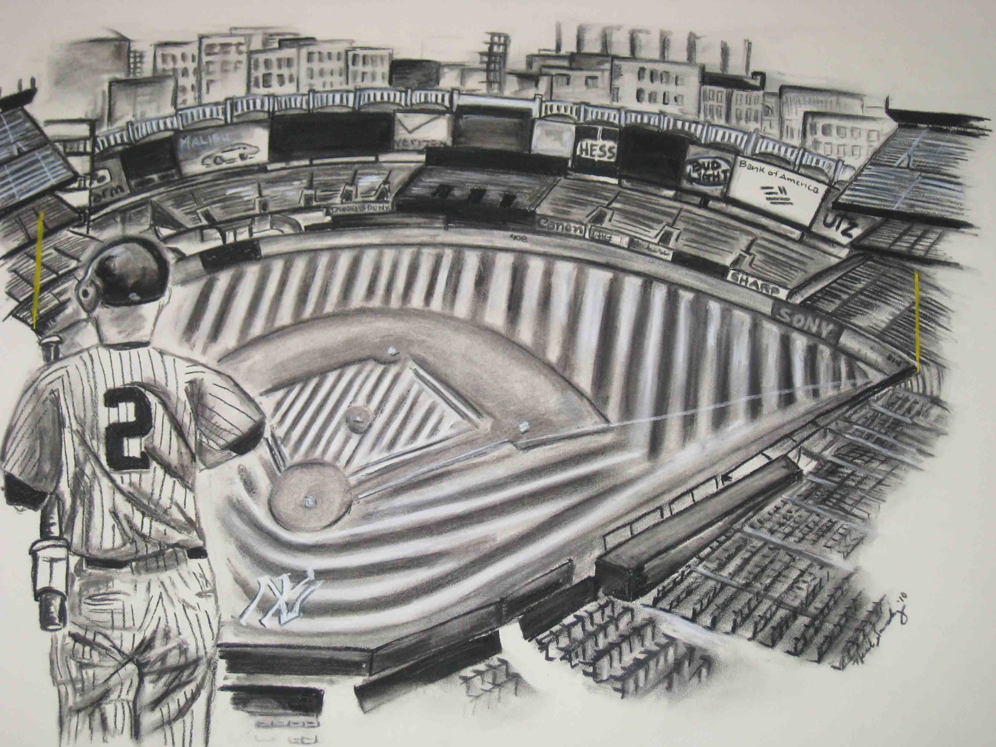 Original Yankees Stadium Drawing In Charcoal