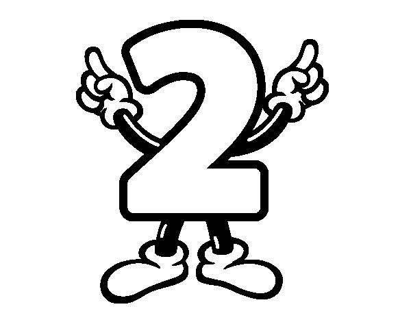 Dibujo del nmero dos para colorear  Dibujos de nmeros para