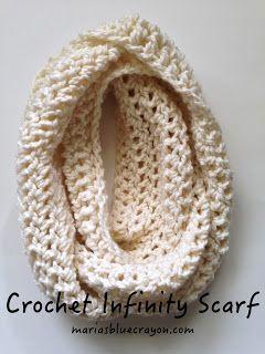 Free Crochet Chunky Infinity Scarf Pattern Maria S Blue Crayon Crochet Infinity Scarf Pattern Scarf Crochet Pattern Crochet Infinity Scarf Free Pattern