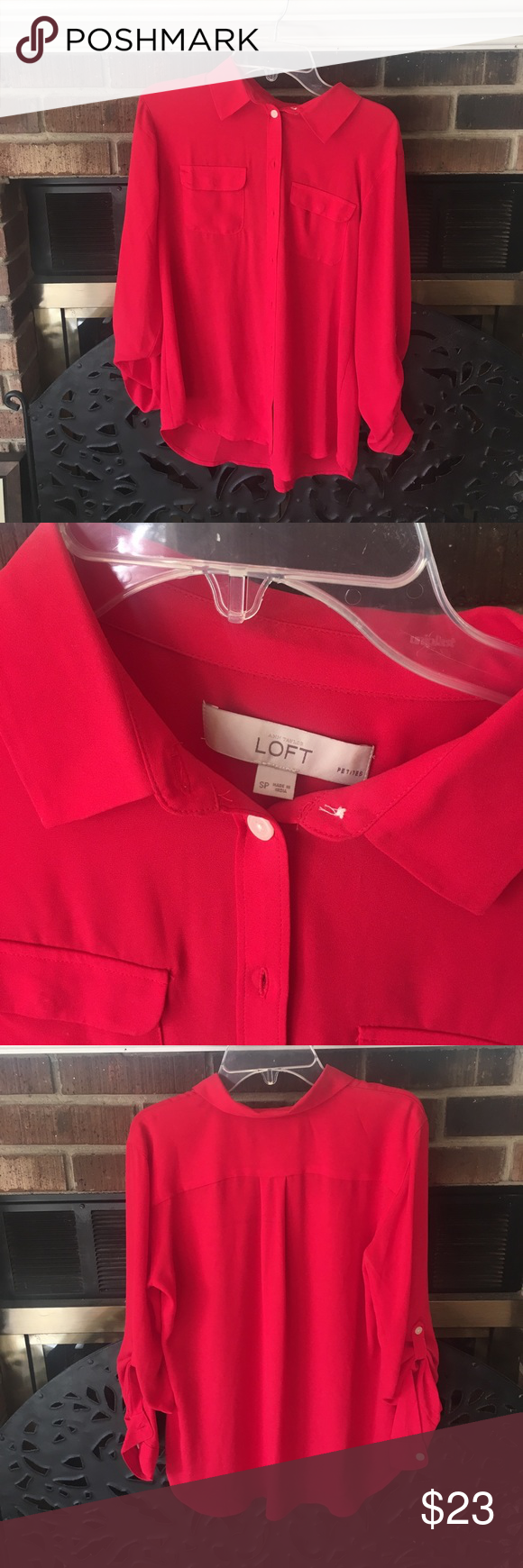 Loft red blouse Ruby red button down blouse from the Loft. White buttons and very flows fabric, perfect to dress up or down! Lightly worn. Fits a small. LOFT Tops Blouses