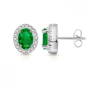 Angara Round Emerald Earrings with Diamond in Platinum p0r2gvVwVk