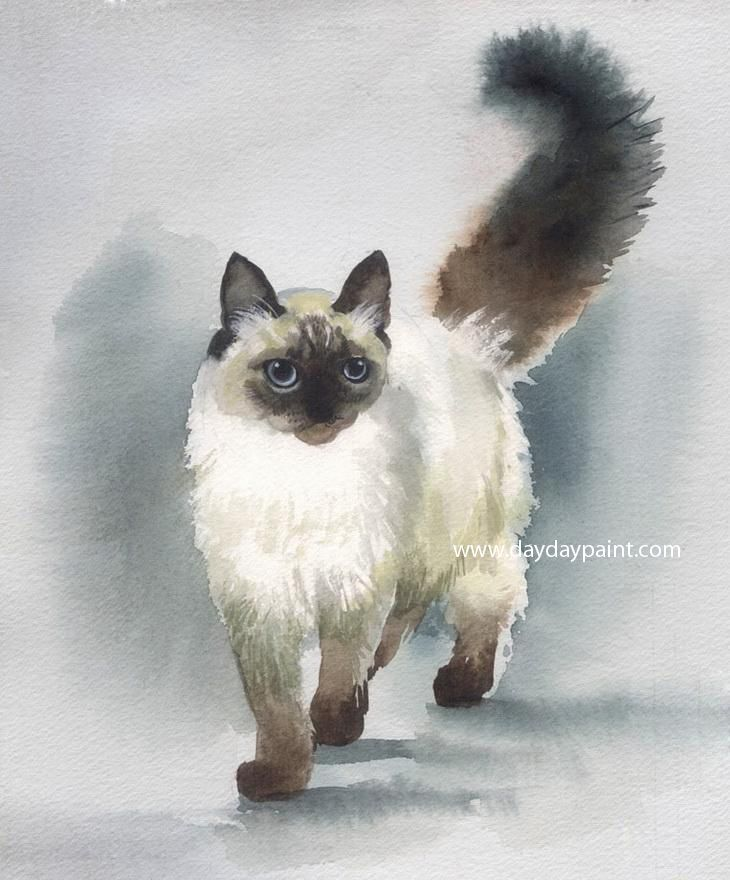 Handmade Cat Paintings 006 Handmade Cat Paintings 006 100 Hand Cat Painting Cat Portraits Cats Illustration