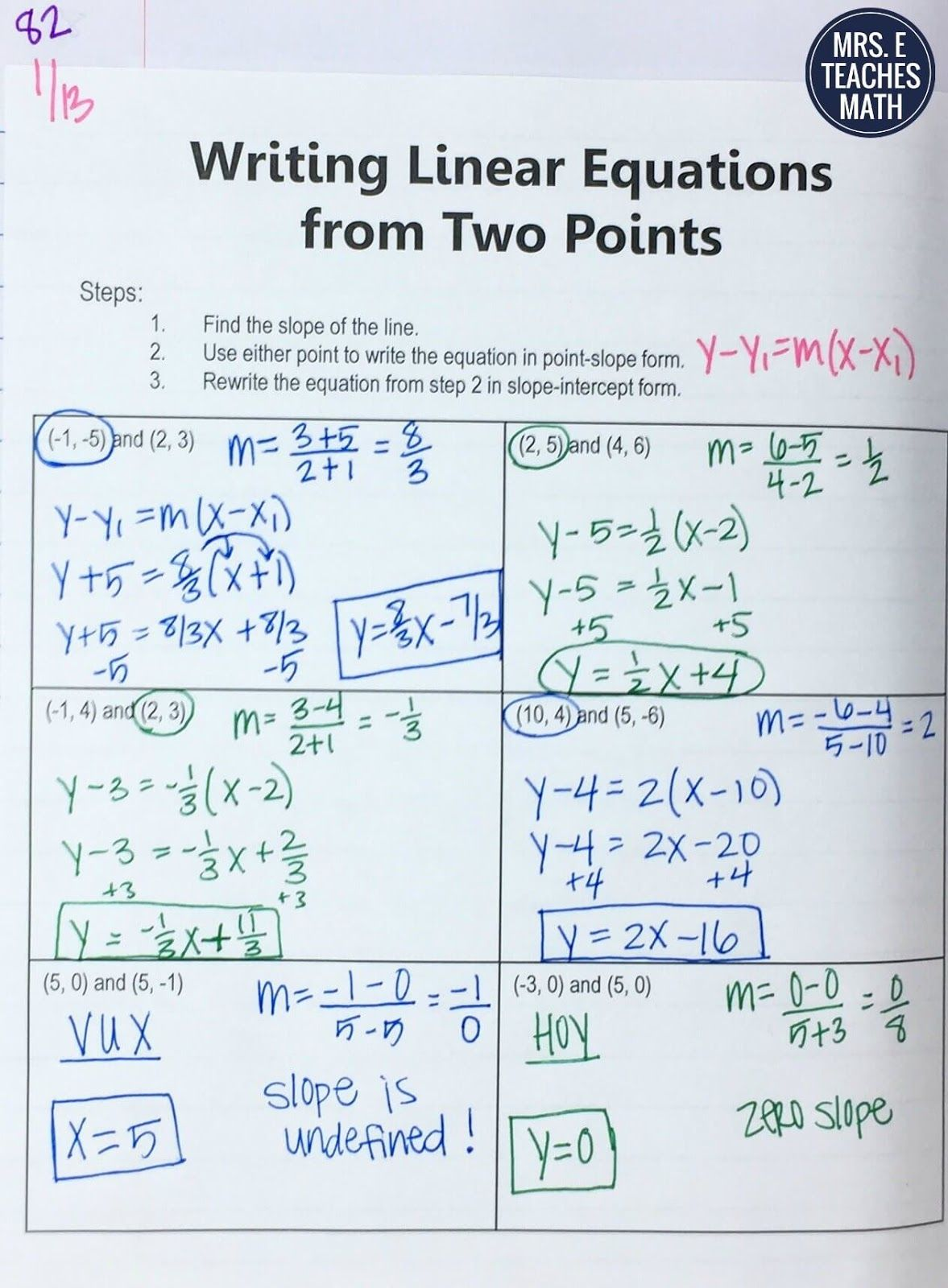 Equations Of Lines Inb Pages Math Writing Teaching Math