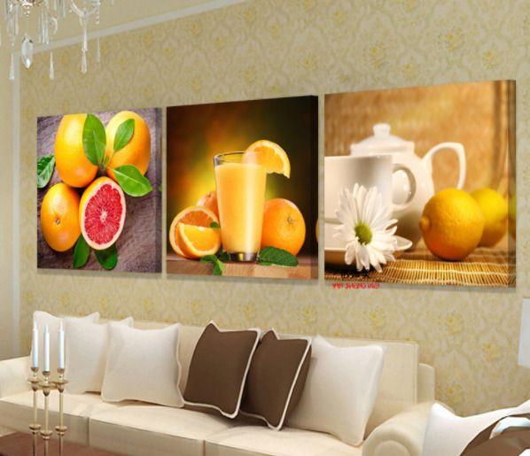 Unframed Fruit Orange Juice Modern Canvas Wall Art Picture Prints ...