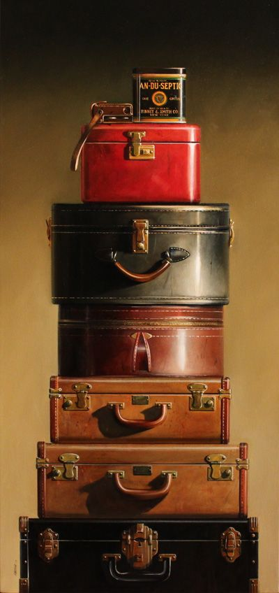 Suitcases ~ (Satin Linings, Brass Hardware & Leather Handles)