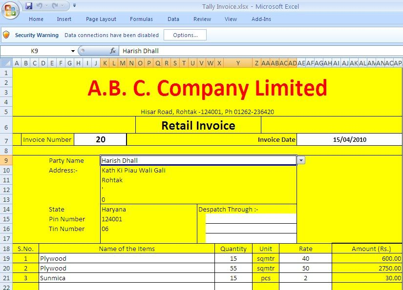 tax invoice format in excel | project management business tracking, Simple invoice