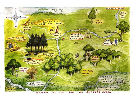 Map of the Hundred Acre Woods -Winnie The Pooh by E.H. Shepard 11x15 Hundred Acre Wood Map Poster on 100 aker wood map, city map, drawing of a town map, gemini map, kingdom hearts 100-acre wood map, wooden story map, 100-acre wood rally map, 100-acre wood forest map, once upon a time map,