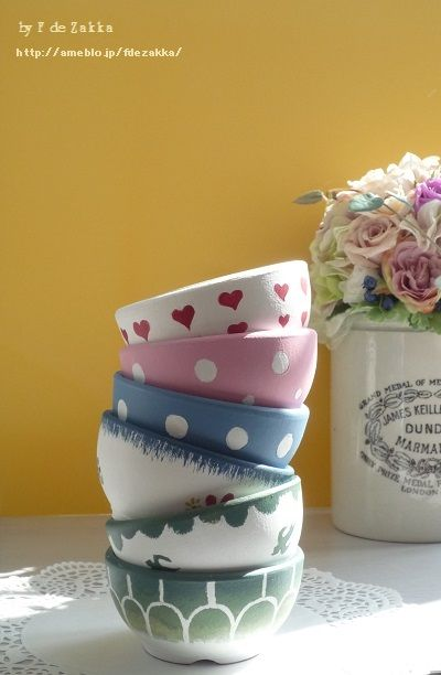 Hand painted flower pots like antique bowls