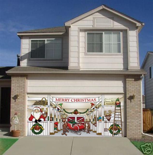 Santa And Reindeer On Your Garage Door. Doesn't Get Any