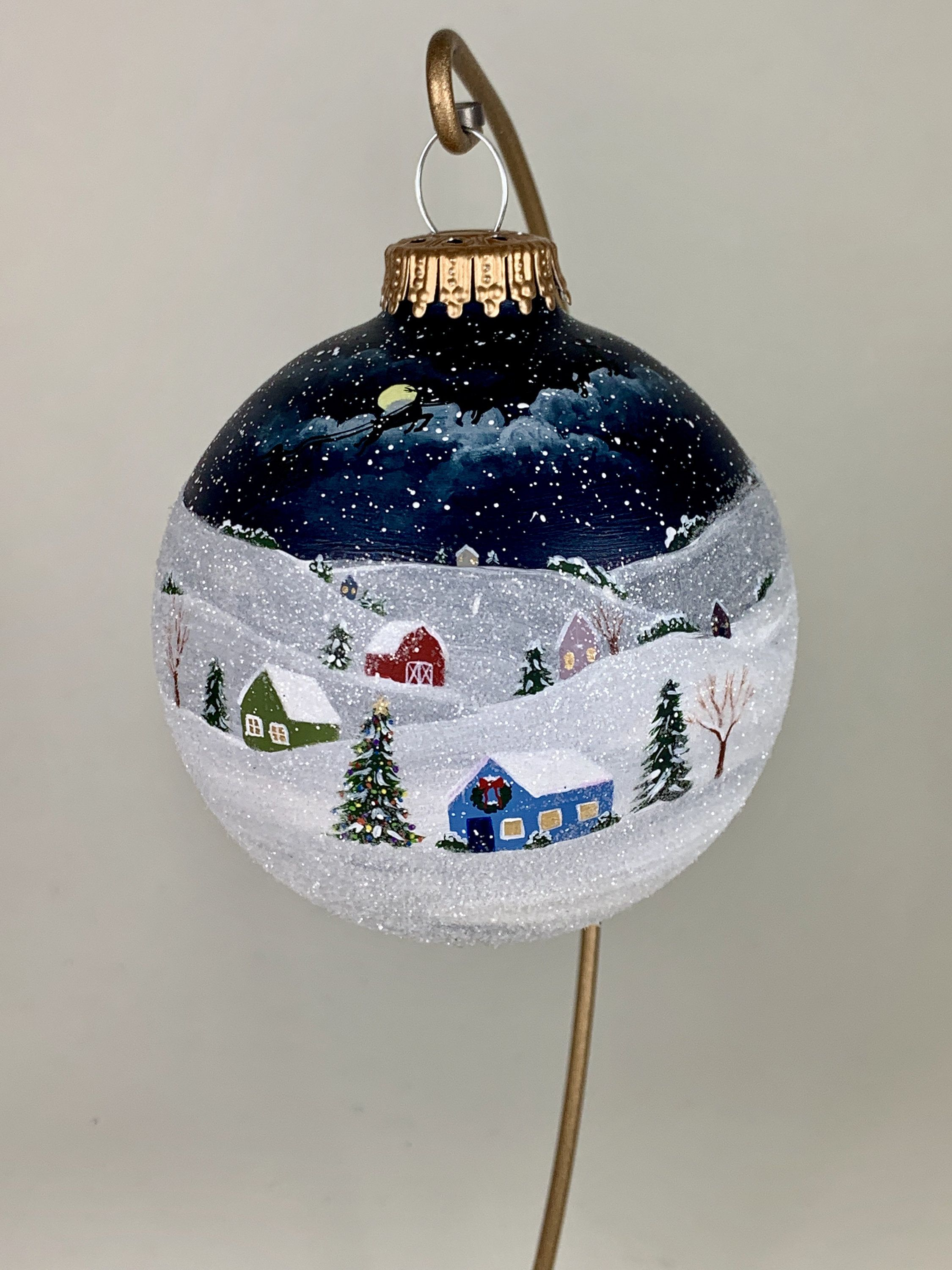 Christmas Village Ornament Hand Painted Ball Of Wintery Small Etsy Painted Christmas Ornaments Christmas Ornament Crafts Christmas Ornaments