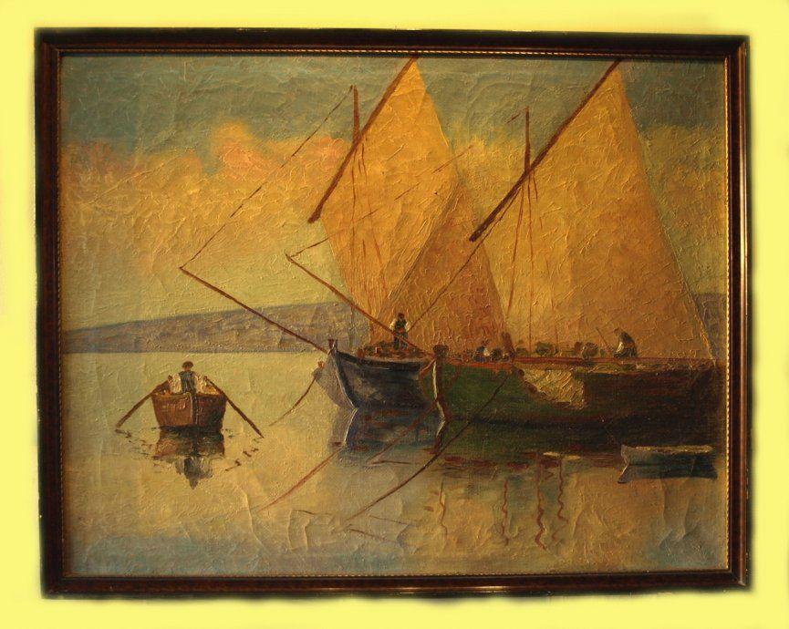 Slike Starih Brodova I Cvijeca Ulje Na Platnu
