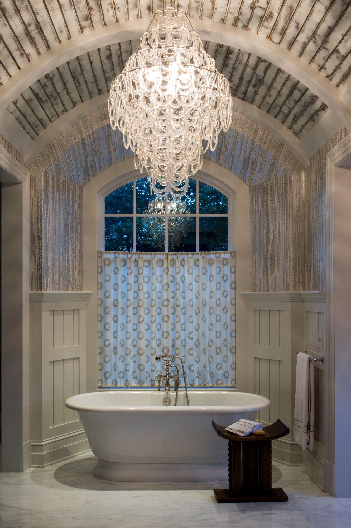 Bathroom White Washed Barrel Ceiling Chandelier