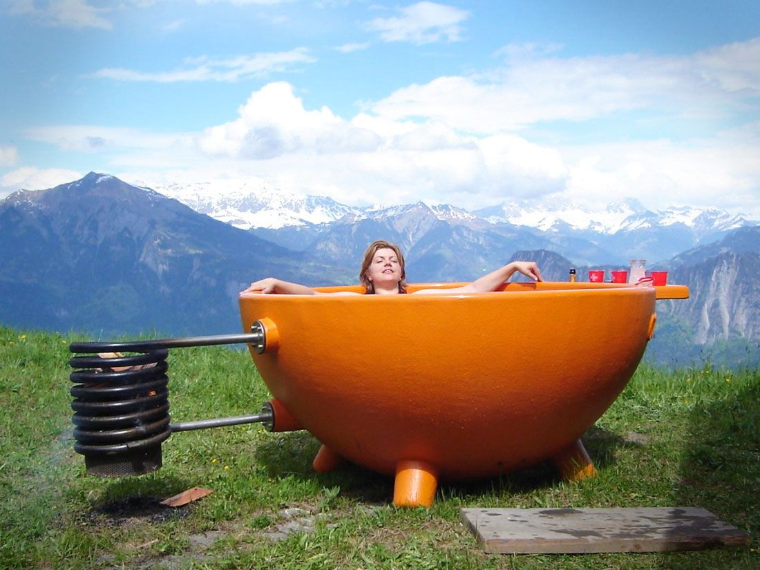 This wood burning hot tub (dutch tub) is heated using just a fire ...