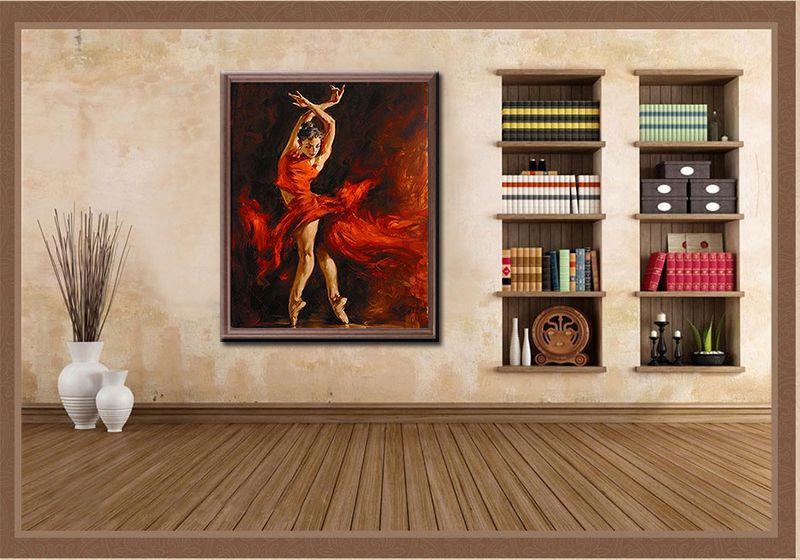Malen Nach Zahlen Leinwand Vorlage Motiv Tanzerin Im Roten Kleid Home Decor Decor Corner Bookcase