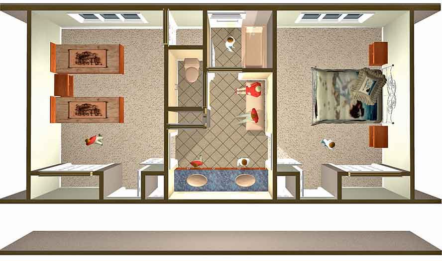 Design a jack and jill bathroom floor plans jack jill - Jack and jill style bathroom ...