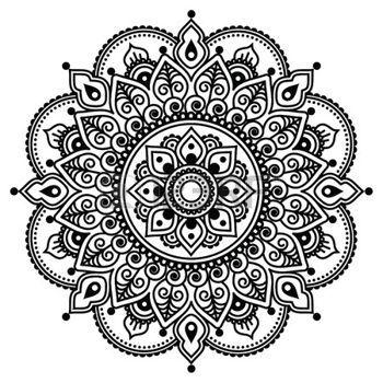 Mandala Black And White Mehndi Indian Henna Tattoo Pattern Or