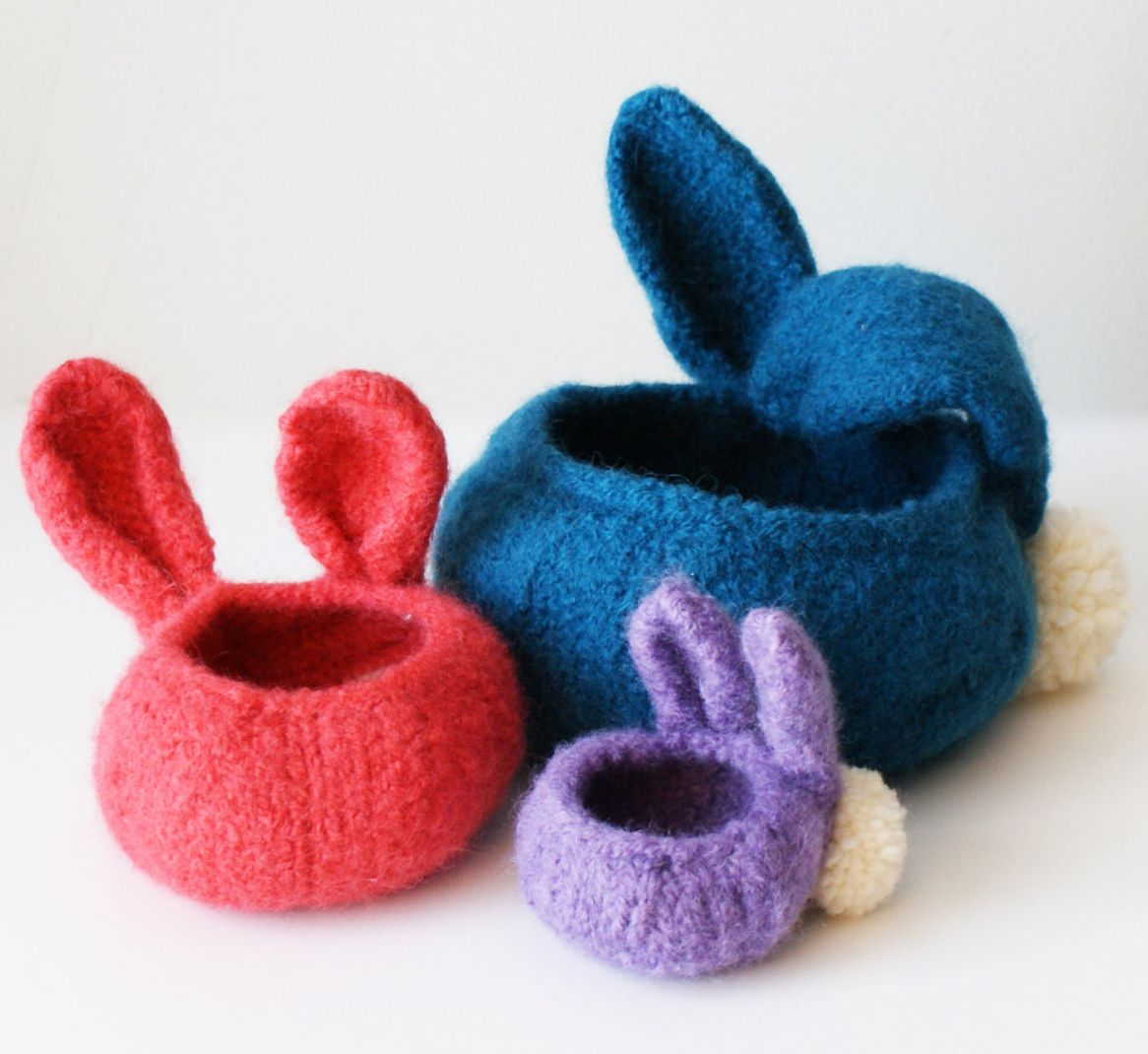 Knitting Pattern for Bunny Bowls - Felted knit baskets with ears and ...