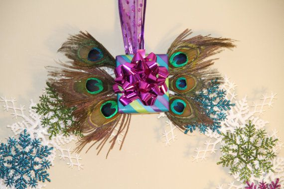 CLEARANCE Winter Peacock Snowflake Wreath - Holiday Christmas