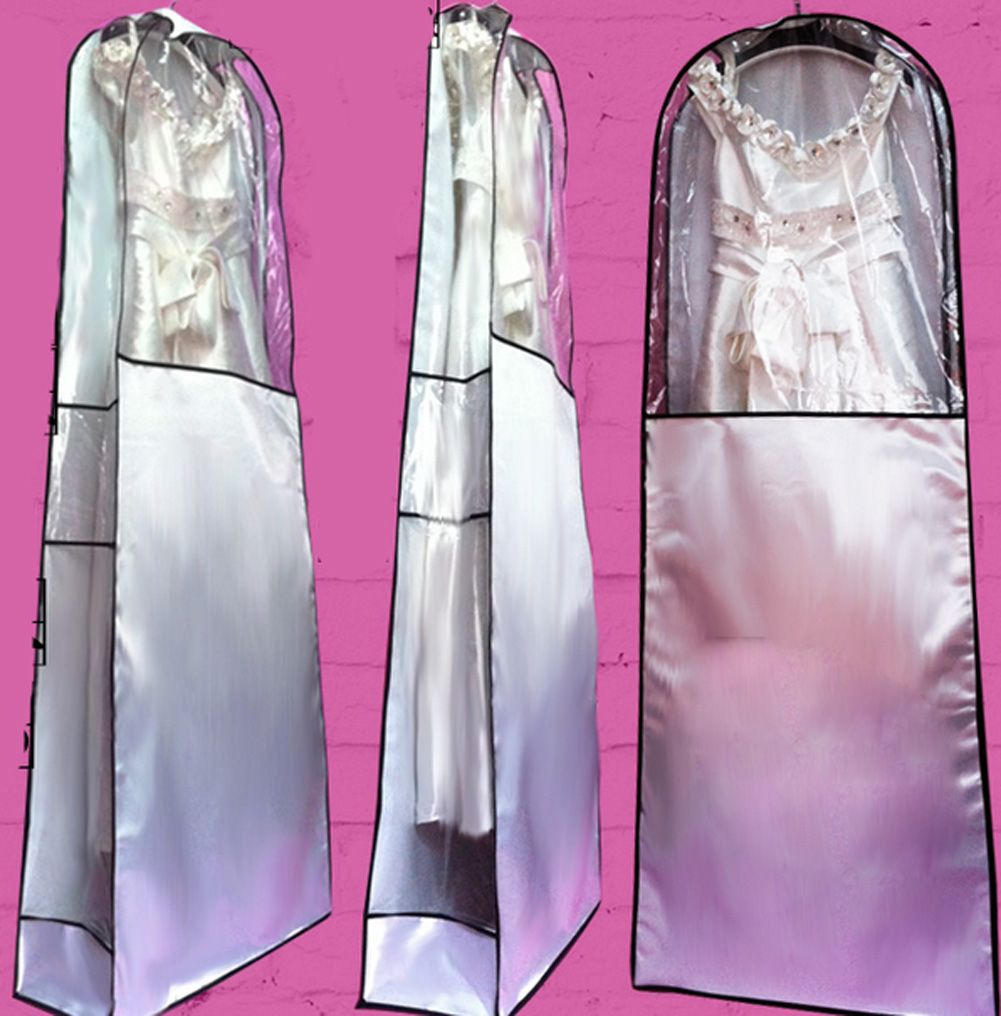 Transparent HANGING WEDDING BRIDAL PROM DRESS GARMENT GOWN COVER ...