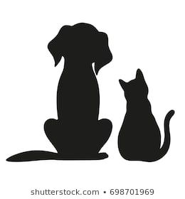 Silhouette Cat Dog On White Background Stock Vector (Royalty Free) 671156590