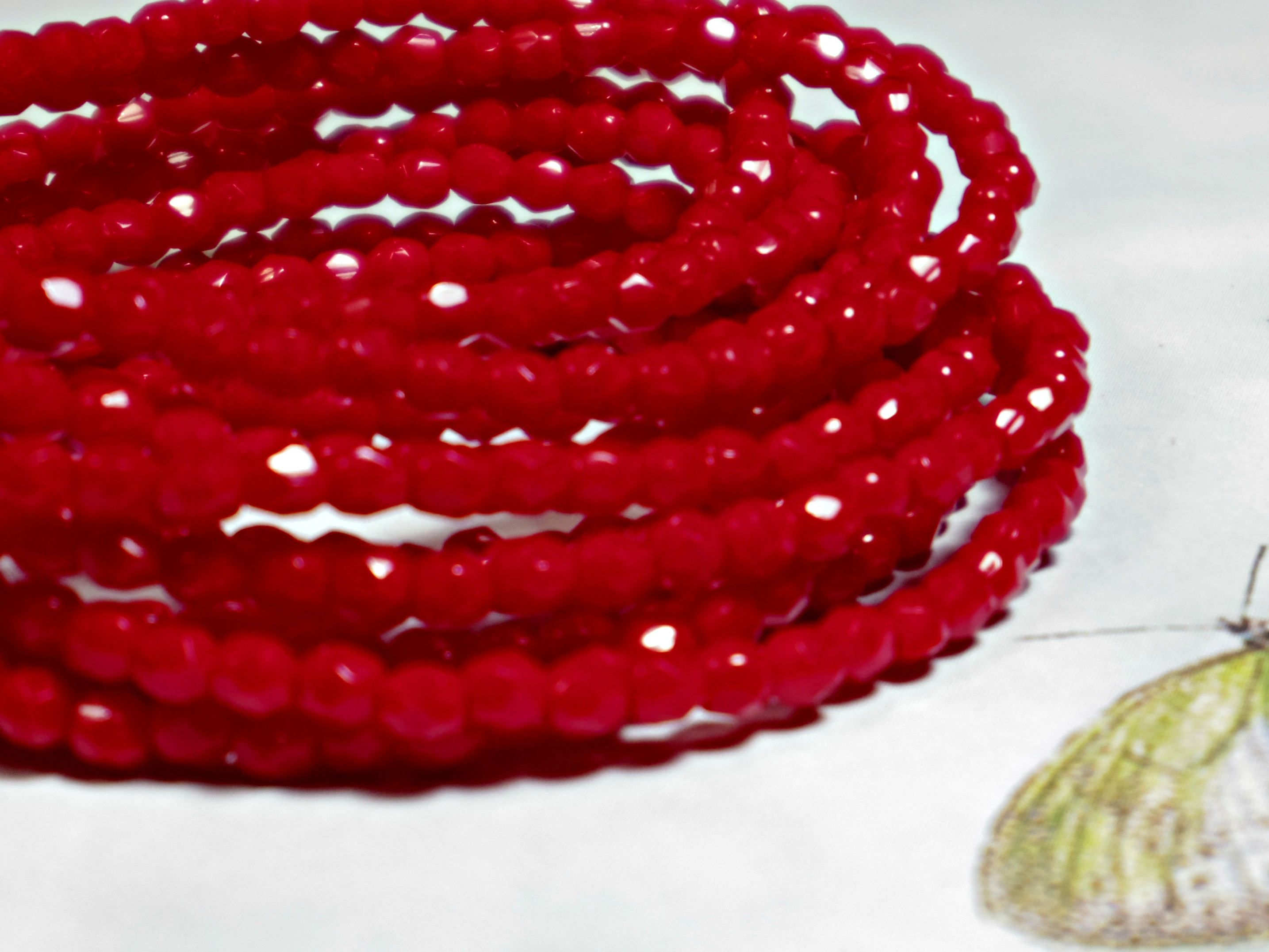 3mm opaque red fire polished czech glass beads 1 strand 50pc
