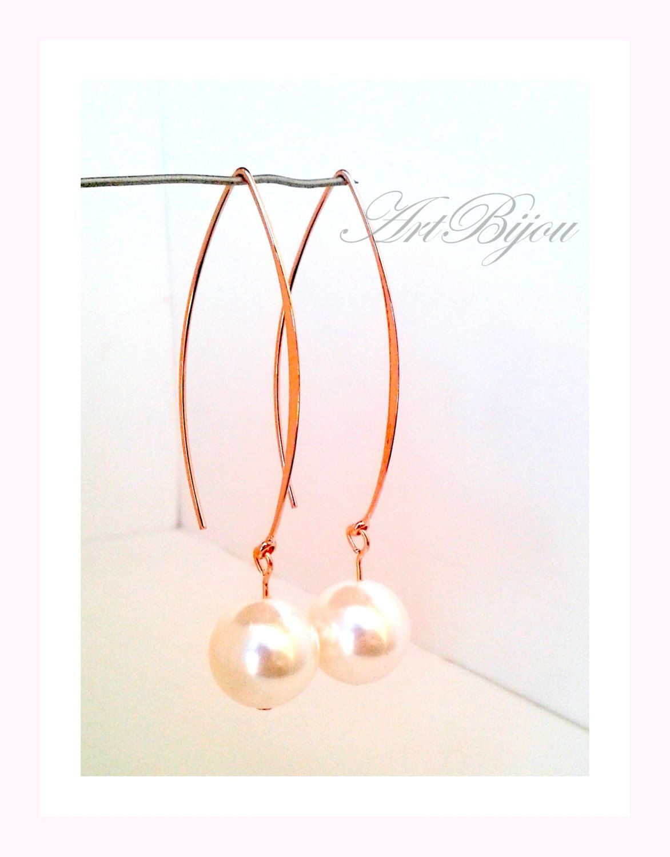 Pearl Earrings, Dangle Earrings, Rose Gold Earrings, Large ...