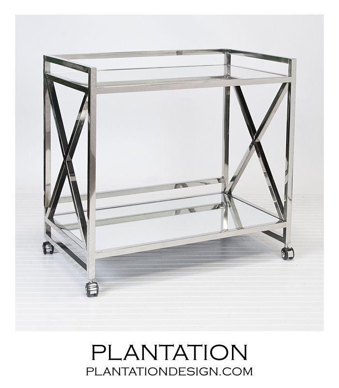 Bateman Bar Cart Polished Steel Stainless Steel Bar Contemporary Bar Carts Modern Bar Cart