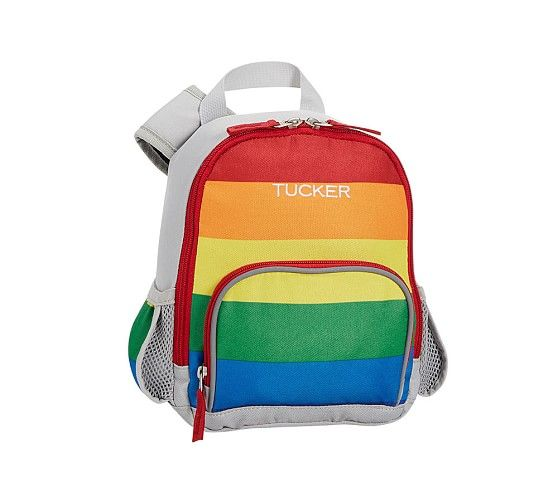 Fairfax Gray Bright Rainbow Stripe Backpack Striped