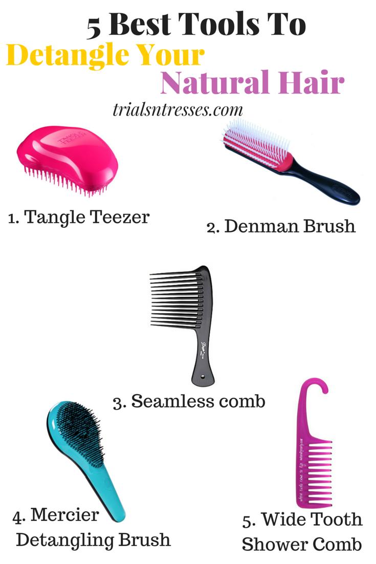 5 Best Tools To Help Detangle Natural Hair Trials N Tresses Detangling Natural Hair Curly Hair Styles Naturally Healthy Natural Hair