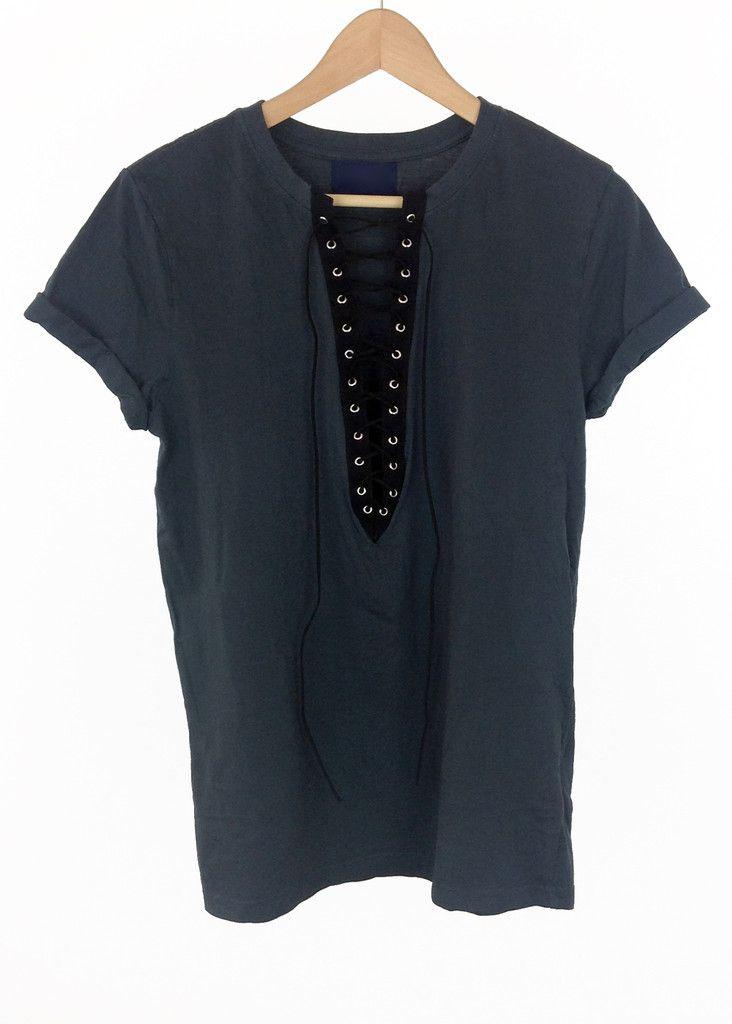 grey lace up t-shirt