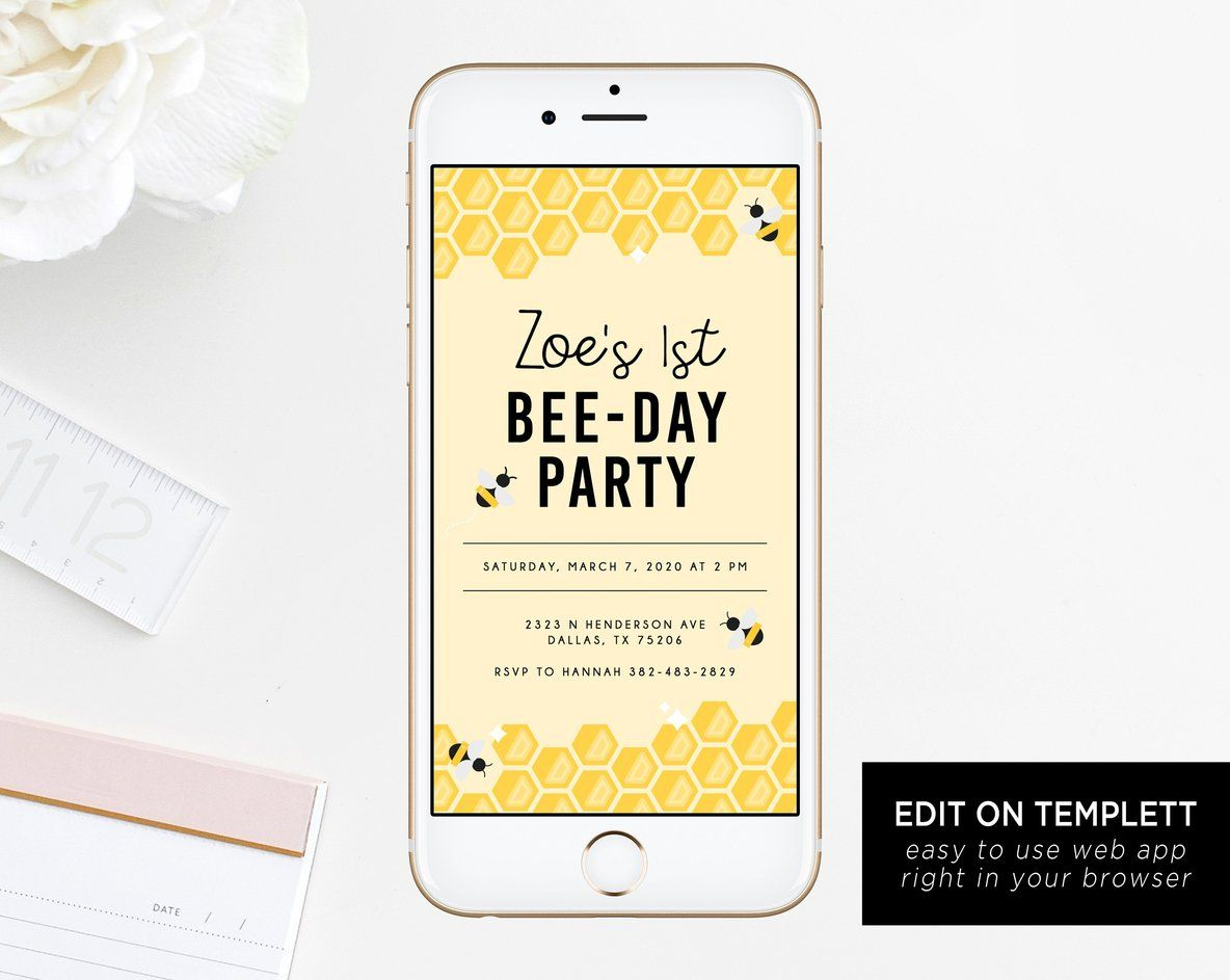 Bee Day Electronic Invitation Template