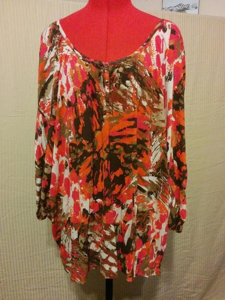 New Directions Plus Size 1X 100 Viscose Batwing Knit Top
