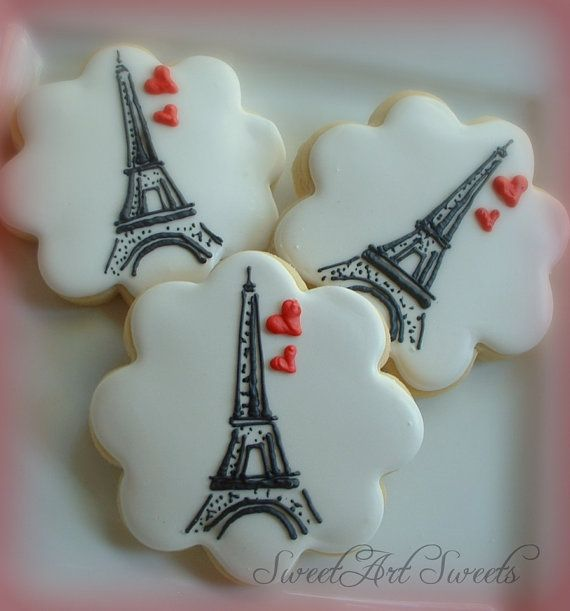 Paris cookies – Eiffel tower cookies – 1 dozen – Valentines day – Wedding cookies – Anniversary gifts