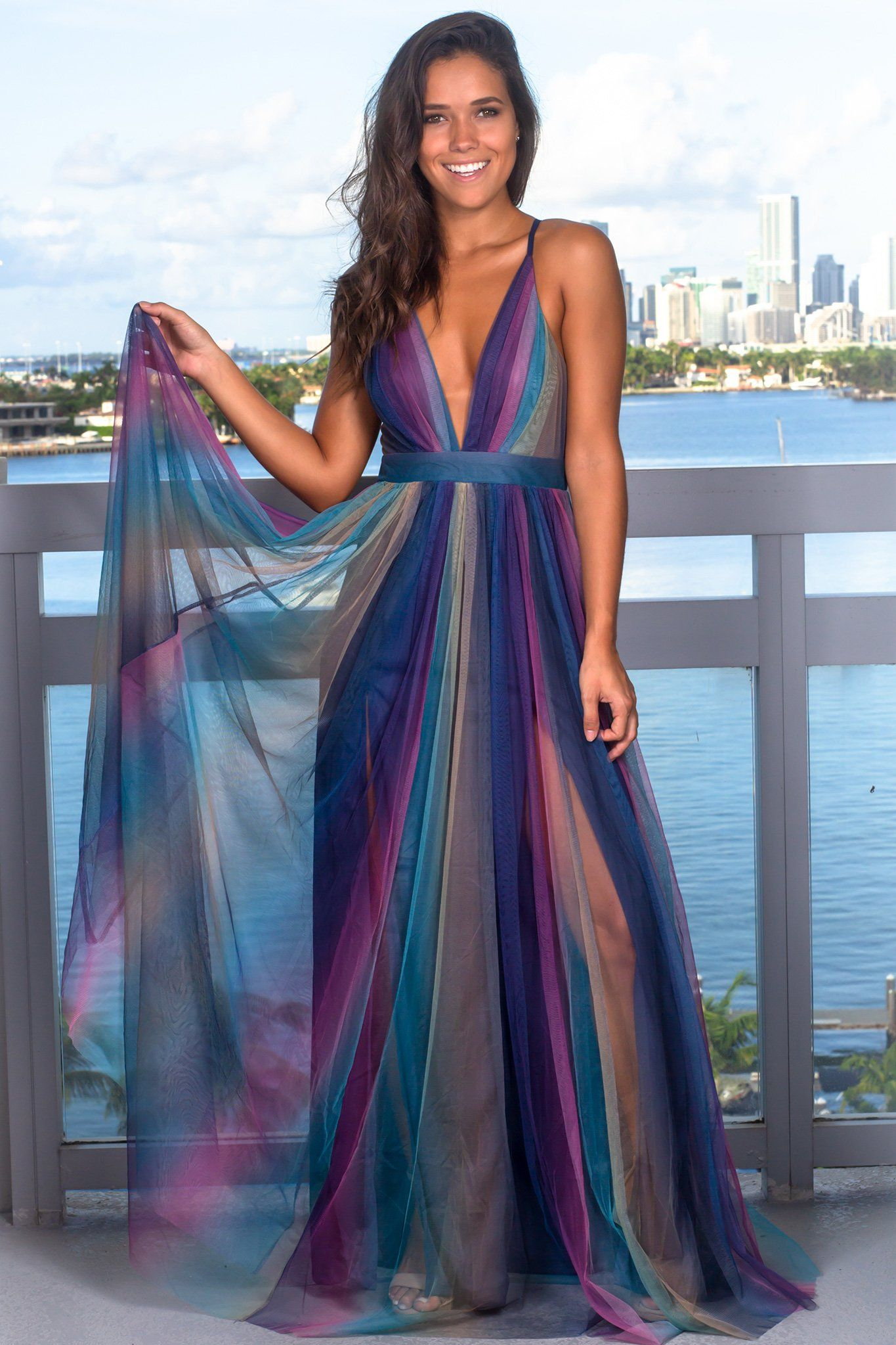 bb4493f11bdb Navy Rainbow Maxi Dress | Clothing | Dresses, Flowy skirt, Boutique ...