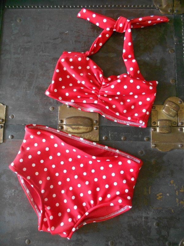 Red and white polka dot Girls retro swimsuit bikini two piece made to order sizes 2-12. $30.00, via Etsy.