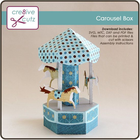 Carousel Merry Go Round Gift Box SVG Cutting by Cre8iveCutzSVGs, $1.25