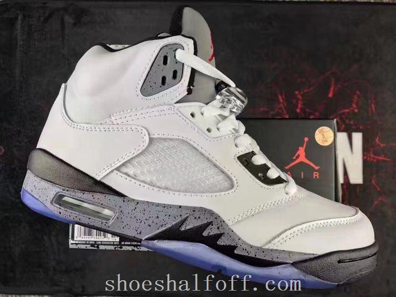 Air Jordan 5 Retro White Cement Custom Shoes Shoes