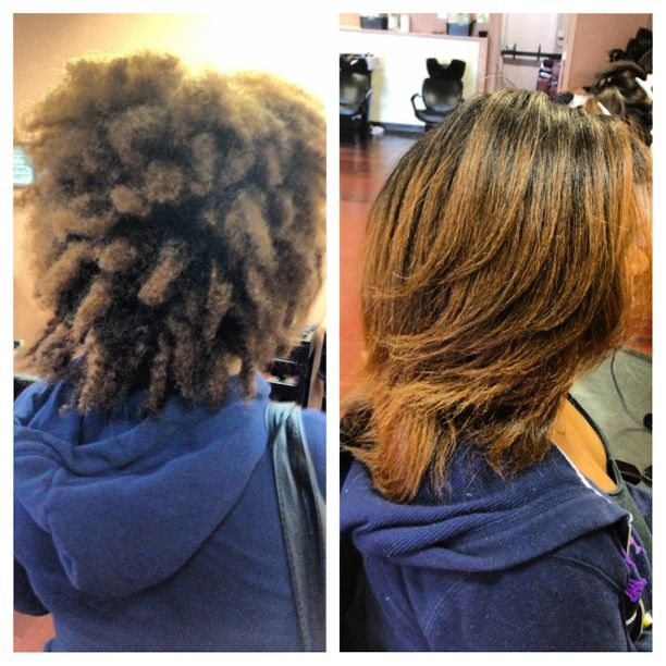 Keratin before and after pic done at Mia\u0027s Dominican Salon on Sunday