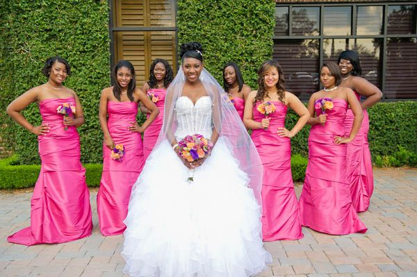 Bride Renelle With Her Pretty In Pink Bridesmaids Photo Andi Diamond Photography Black People Weddingsblack Weddingsafrican American