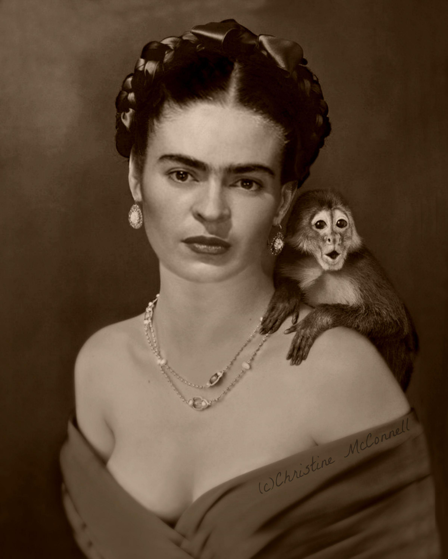 frida kahlo photo montage with monkey from frida kahlo. Black Bedroom Furniture Sets. Home Design Ideas