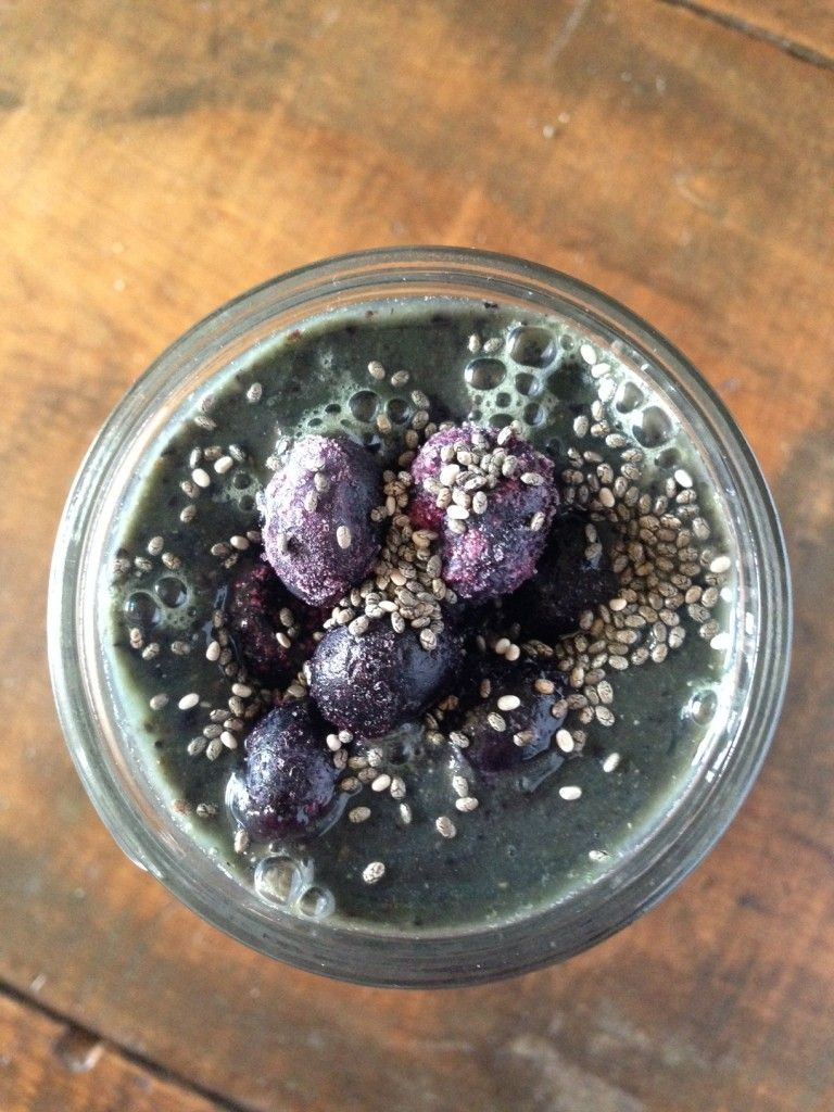 Berry Chia Green Smoothie Recipe  (because not all green smoothies should be green!)