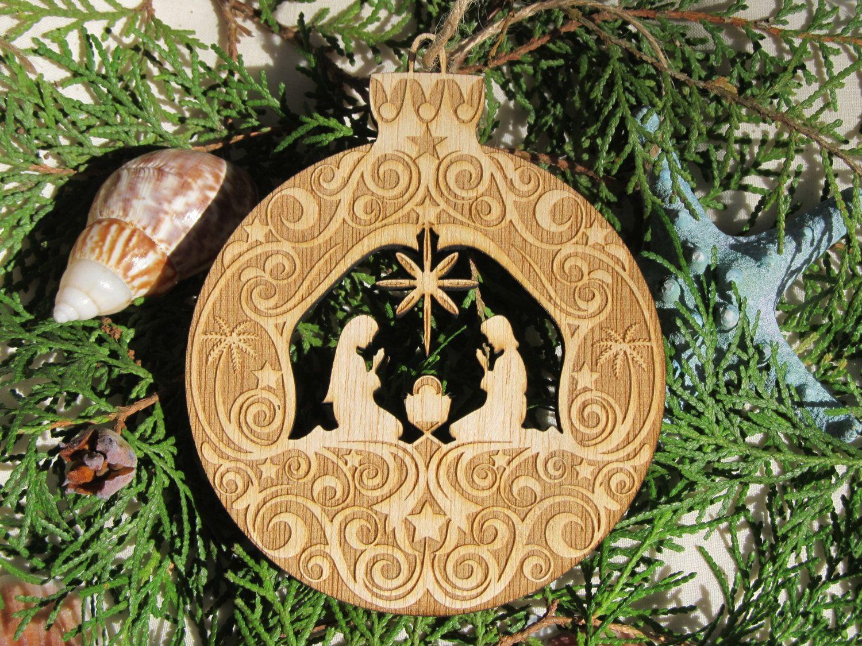 Manger Scene Wood Nativity Christmas Ornament Laser Engraved Manger Scene Christmas Ornaments Nativity