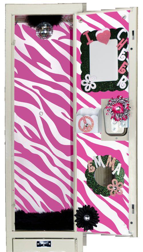 Bright Pink And White Zebra Locker Wallpaper