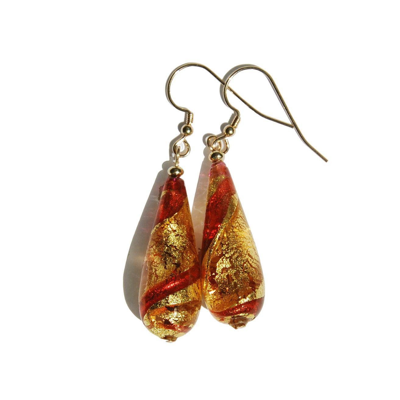 Handmade Venetian Glass Gold Foil teardrop earrings, 14KT Gold filled earrings, Red Venetian Glass bead, Amber glass earrings, Gold earrings by KarmaKittyJewelry on Etsy