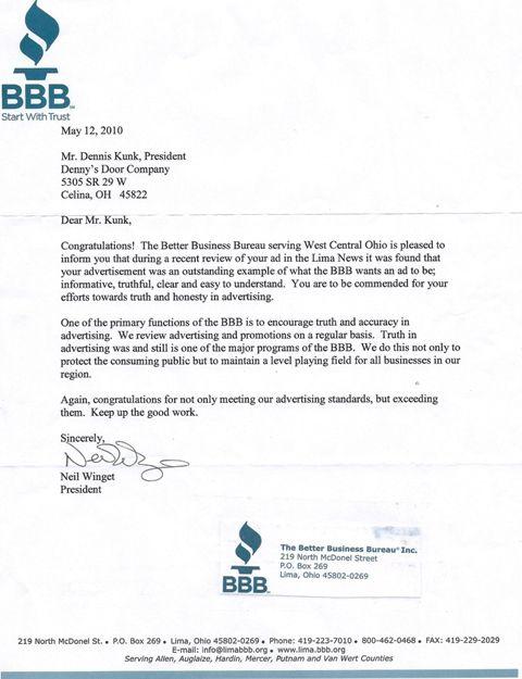 denny door company celina ohio better business bureau letter - company business letter