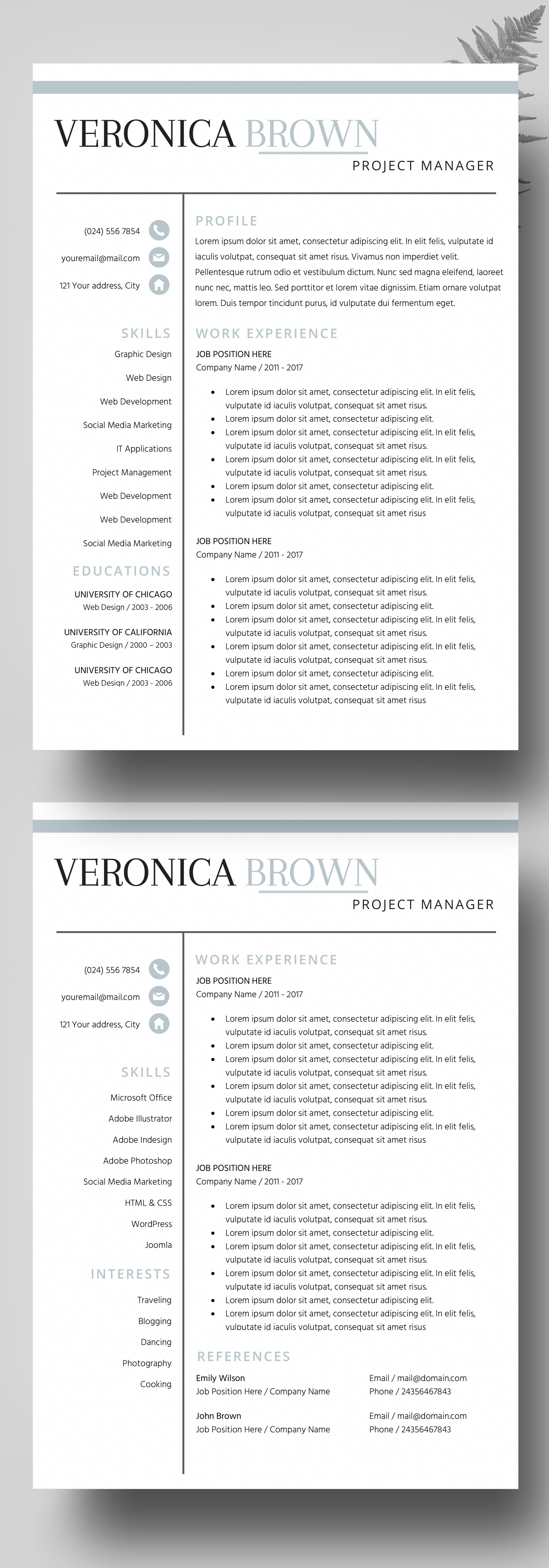 Resume Instant Download, Resume Templates Creative Resume