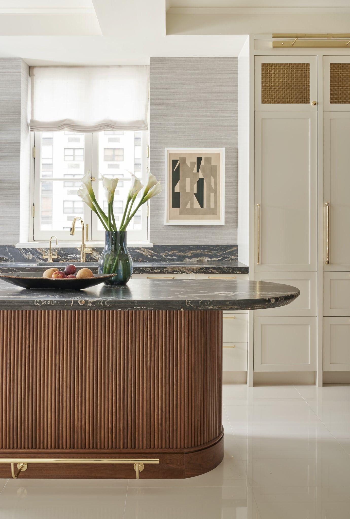 Chicago Lux, Art Deco, White Kitchen, Modern, Contemporary, Tambour, Gold Detail Kitchen Design Detail Contemporary Modern Art Deco by BK Interior Design #artdecointerior